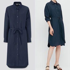 Uniqlo Linen Blended Long Sleeve Shirt Dress